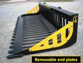 Skid steer EZ Rock Bucket Removable end plates CL Fabrication